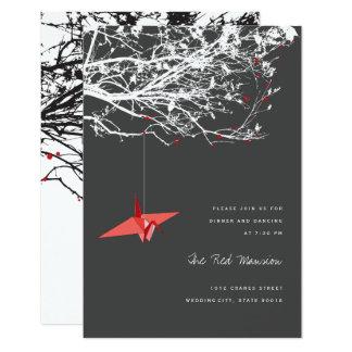 """Recepción nupcial de papel colgante del árbol de invitación 3.5"""" x 5"""""""