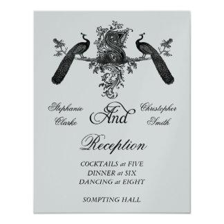 """Recepción nupcial de plata de los pavos reales del invitación 4.25"""" x 5.5"""""""