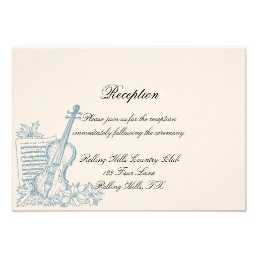 Recepción nupcial del blanco puro y del azul invitaciones personales