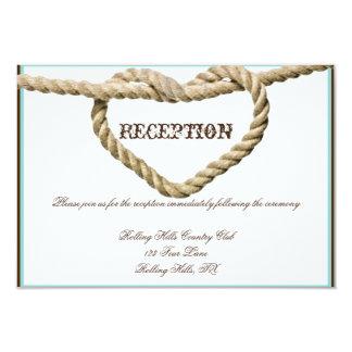 """Recepción nupcial del nudo de amor del corazón invitación 3.5"""" x 5"""""""