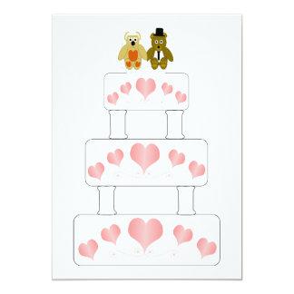 Recepción nupcial del pastel de bodas invitación 12,7 x 17,8 cm