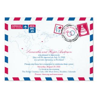"""Recepción nupcial del poste del correo aéreo de invitación 5"""" x 7"""""""
