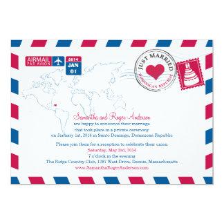 Recepción nupcial del poste del correo aéreo de la invitaciones personalizada