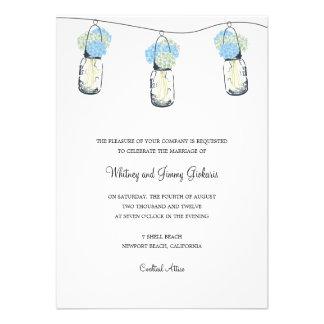 Recepción nupcial del tarro del Hydrangea y de alb Invitacion Personal