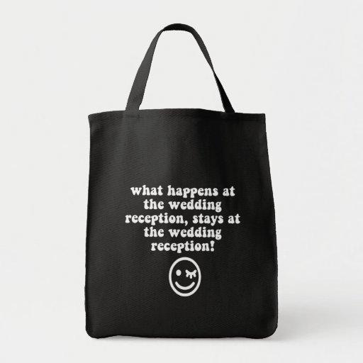 Recepción nupcial divertida bolsas