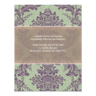 """Recepción nupcial elegante púrpura del damasco de invitación 4.25"""" x 5.5"""""""