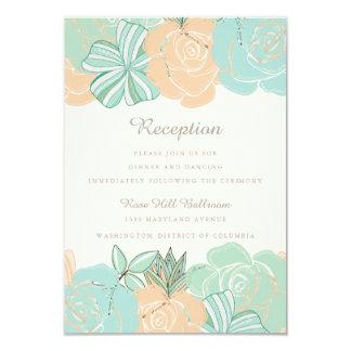 """Recepción nupcial floral de la menta elegante del invitación 3.5"""" x 5"""""""