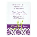 Recepción nupcial púrpura del monograma del invitacion personalizada