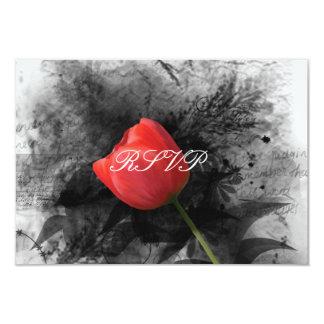 """Recepción nupcial roja RSVP del tulipán Invitación 3.5"""" X 5"""""""