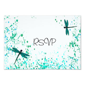 """Recepción nupcial RSVP de las libélulas del trullo Invitación 3.5"""" X 5"""""""