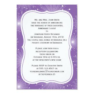 """Recepción púrpura y blanca de los resplandores invitación 5"""" x 7"""""""