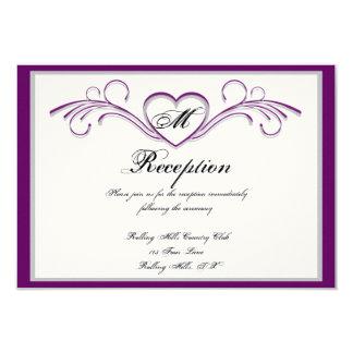 """Recepción púrpura y de plata del monograma de la invitación 3.5"""" x 5"""""""