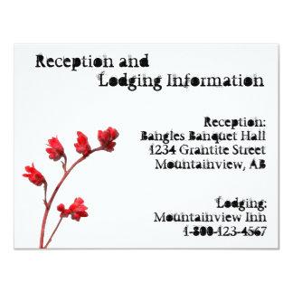 Recepción roja de la flor y tarjeta de alojamiento invitación 10,8 x 13,9 cm