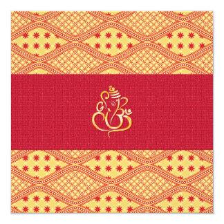 Recepción roja y amarilla del boda indio invitación 13,3 cm x 13,3cm