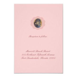 """Recepción rosada del flor invitación 3.5"""" x 5"""""""