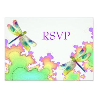 """Recepción RSVP del fractal de la libélula Invitación 5"""" X 7"""""""