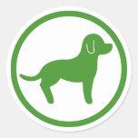 Recepción verde y blanca de los mascotas pegatina redonda