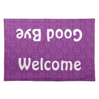Recepción y adiós estera de lugar púrpura del manteles