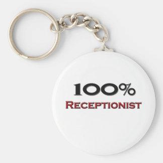 Recepcionista del 100 por ciento llavero redondo tipo pin