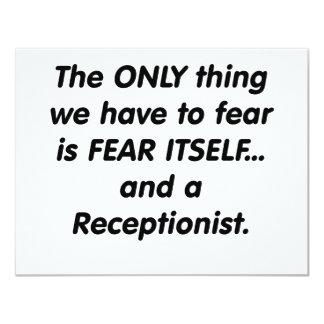 """recepcionista del miedo invitación 4.25"""" x 5.5"""""""