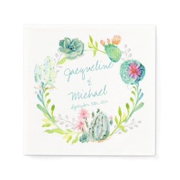 luxuryweddings Reception Bridal Shower Cactus Succulent Desert Napkin
