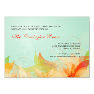 "Reception Card Abstract Floral Wedding Invitations 4.5"" X 6.25"" Invitation Card"