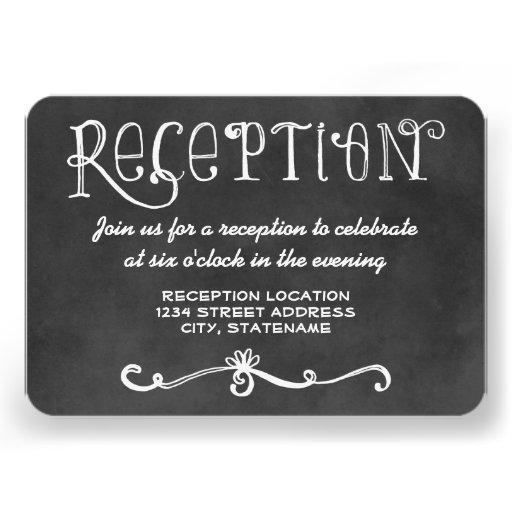 Reception Card   Black Chalkboard Charm