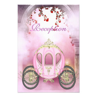 Reception Card de princesa Carriage Enchanted rosa