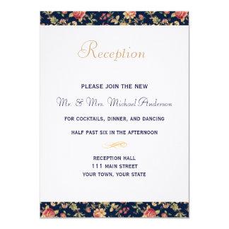 Reception Card for Elegant Blue Vintage Rose