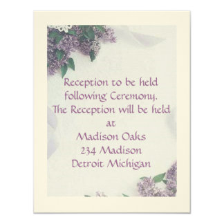 "Reception Card Matches ""Lilacs And Love"""