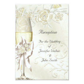 Reception Card Wedding Gold Cream Pearl Floral