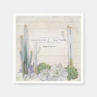 Reception Decor Desert Cactus n Succulent Wooden Paper Napkin