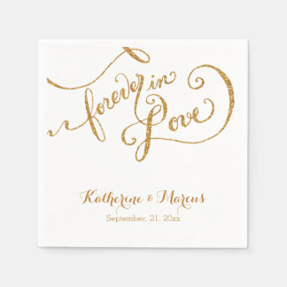 Reception Decor Napkin Script Forever Love Glitter