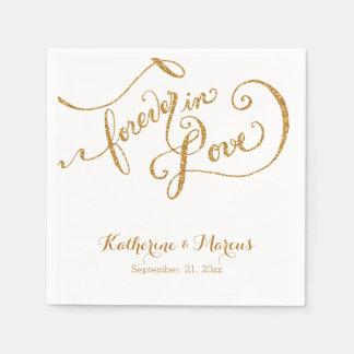 Reception Decor Napkin Script Forever Love Glitter Disposable Napkin