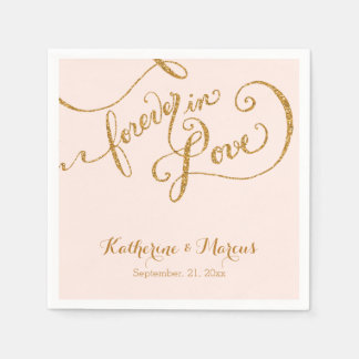 Reception Decor Napkin Script Forever Love Glitter Paper Napkins