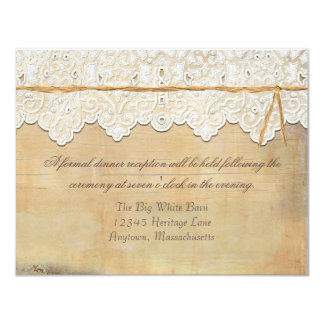 Reception Elegant Rustic Country Western Lace Wood Card