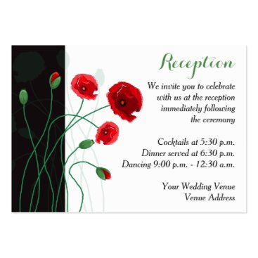 Reception Enclosure Card | Red Poppies Business Card Template