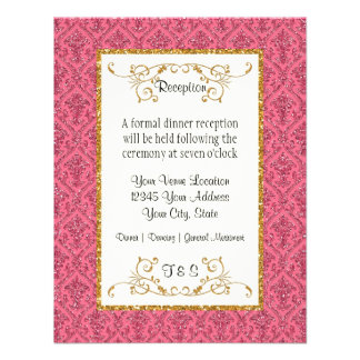 Reception Faux Gold Glitter Damask Floral Pattern Custom Invitations