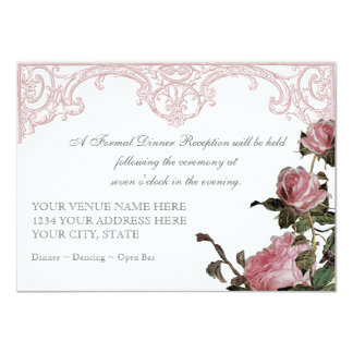 Reception Information Card - Trellis Rose Vintage