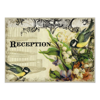 Reception Invitation, Yellow Song Bird Cage Floral Card