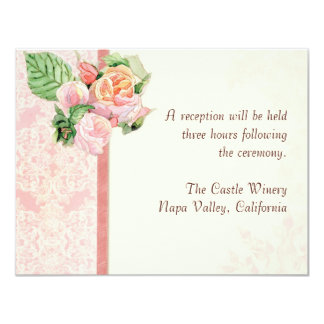 Reception Invite Formal Antique English Rose Pink