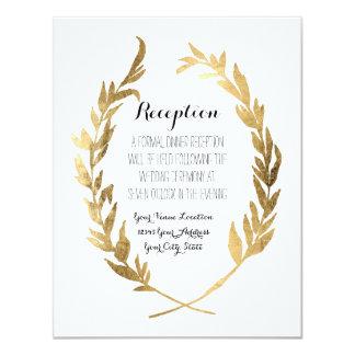 Reception Laurel Wreath Modern Faux Gold Leaf Card