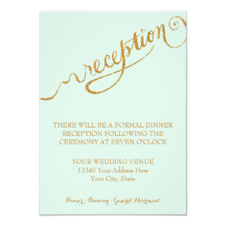 Reception Mint Script Forever in Love Gold Glitter Card