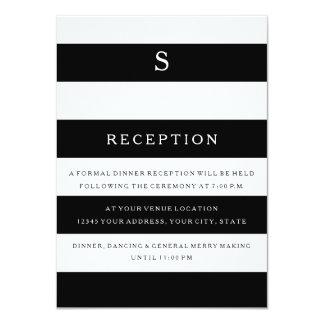 "Reception MODERN Chic Wide Stripes Monogrammed 4.5"" X 6.25"" Invitation Card"