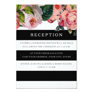 Reception MODERN Chic Wide Stripes w Vintage Roses Card
