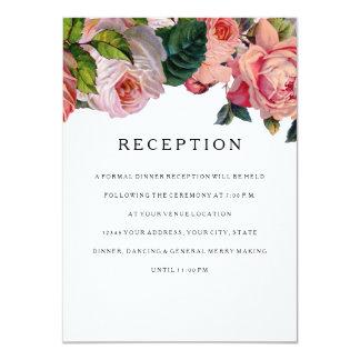 "Reception MODERN Geometric Scroll Vintage Rose 4.5"" X 6.25"" Invitation Card"