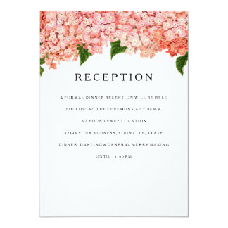 "Reception MODERN Wide Stripe Vintage Hydrangea 4.5"" X 6.25"" Invitation Card"