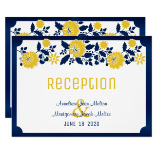 Reception - Navy Blue and Yellow Floral Wedding Invitation