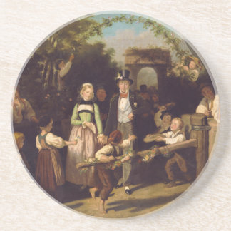 Reception of the Wedding Couple by Theodor Schuz Drink Coasters