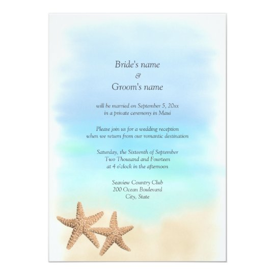Reception Only Beach Theme Wedding Invitations Zazzlecom